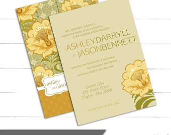 Wedding Invitation Set - Yellow, Rustic, Vintage, Floral, Shabby Chic Wedding - Caroline Couture Collection (Digital or Print)