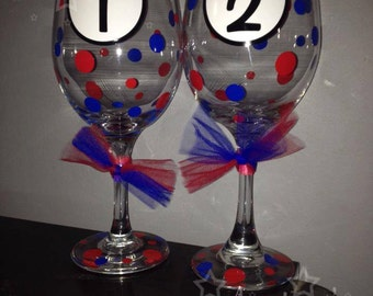 Personalized Thing 1/Thing 2 Inspired Wine Glasses (SET OF 2 Wine Glasses)