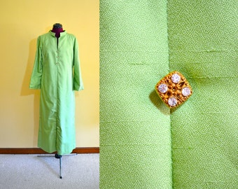1960s Vintage Plus Size Caftan in Celery Green with Rhinestone Detail size XL bust 40
