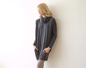 Roll-neck short knit gray dress with long sleeves, Casual daily winter grey dress