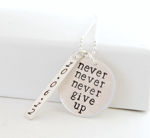 never never never give up with personalized by studio463