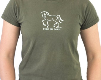 "Dressage Tee Shirt, ""Begin the Dance"", Equine Design by Sandra Beaulieu, Horse Gift, Horse Clothing, Horse Holiday Gift, Equestrian Style"