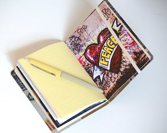 Upcycled Mini Journal- Urban Love Edition, Love Notebook