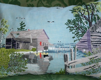 Vintage Cottage Pillow by the Lake, Scenic Pillow, Upcycled Pillow