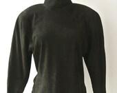 Vintage 80s VARIZIONI suede Turtleneck top M olive green Shoulder pads 3/4 sleeves vtg 1980s