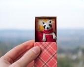 Raccoon toy red checkered plaid matchbox art Tiny pocket poseable Animal miniature Gift pet kids BJD doll Pukifee, Blythe