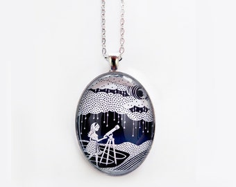 "Stargazer Necklace - Papercut Illustration Pendant with 24"" Silver Chain"