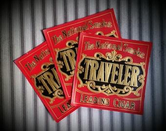 3 Antique Traveler Cigar Box Labels   The National Smoke Ephemera Lot NOS