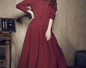 Military Red Coat - Wine Crimson Winter Coat Long Lined Single-Breasted Coat Long Winter Trench Coat in Red, Red Coat Jacket
