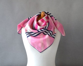 Vintage large scarf carré womens XXL pink checked checkered black geometric square