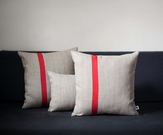 Pillow covers set of 3/ Color block throw pillows/ Linen decorative pillows cases/ Linen pillow covers Small lumbar and 16x16  pillows 0198