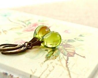 Olive Earrings, Green Drop Earrings, Tear Drop Earrings, Olivine Jewelry, Olive Green Earrings, Glass Earrings, Antique Bronze Earrings UK