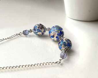 Cloisonne bib necklace, blue silver enamel statement necklace, large beads row line bar, gifts for her women wife aunt grandmother coworker