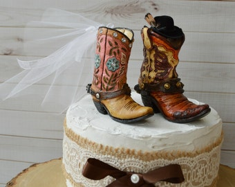 cowboy cowgirl wedding boot cake topper hat western country weddings rustic grooms cake boots and spurs