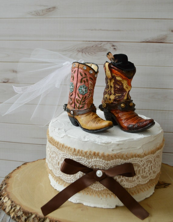 Cowboy Cowgirl Wedding Boot Cake Topper Hat Western Country