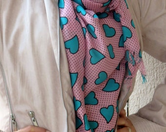 Pashmina scarf,  hearts scarf. Turkish long Scarf . pink and mint green  scarf,authentic, romantic, elegant, fashion, personalized design...