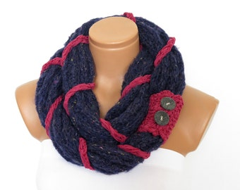 knit button infinity scarf Circular Scarf   hand knit  navy blue  texture braided - birthday gifts women's accessory fashion scarves
