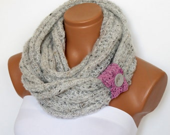Cowl Neck Warmer / stone gray / Hand Knit,Colorfull pink cuff and Button ..Cozy scarves,cozy knit,capelet,for her,gifts,winter accessories,