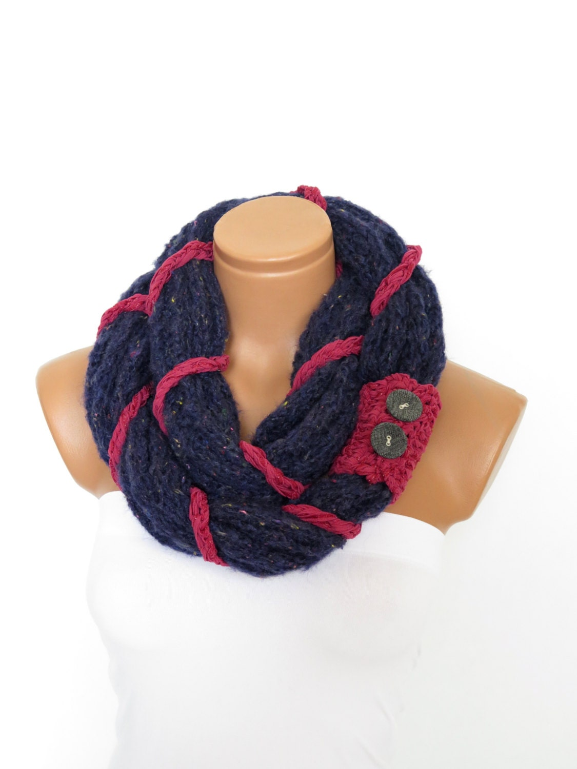 knit button infinity scarf circular scarf knit navy