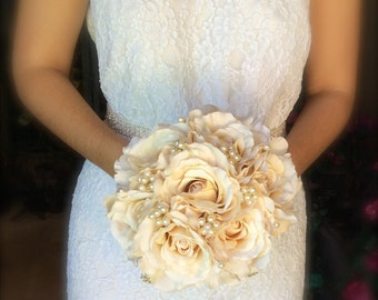 ivory rose bouquet with pearls and gold lace vow renewal bouquet vintage inspired bouquet pearl bouquet