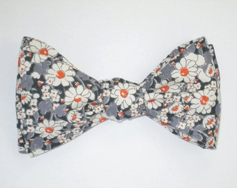 Mens Freestyle Bow Tie Liberty of London Alice W Daisies Floral Self Tie Your Own BowTie