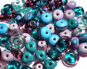 TEAL PURPLE MIX - Handmade Glass Lampwork Beads - Purple Teal Dark Turquoise - Set of 20