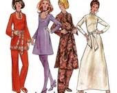 "1970 A-line Dress Wardrobe, Neckline Variations, Deep V-Neck-Turtle Neck, Long Fitted or Bell Sleeves, Pants, Butterick 5993, Bust 40"" Uncut"