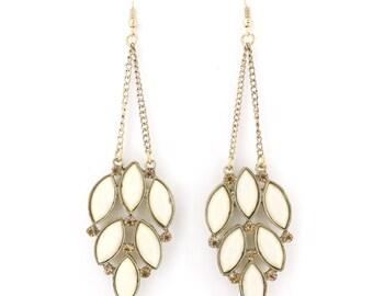 Special Gold-tone White Stone Fringe Drop Dangle LONG EARRINGS, B11