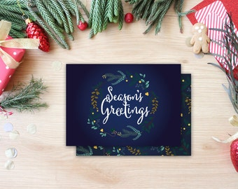 Season's Greetings Holiday Floral Wreath Calligraphy Whimsical Christmas Card Trendy Unique Christmas Card Photo Card Christmas Calligraphy