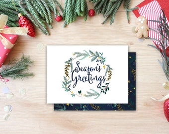 Season's Greetings Holiday Floral Wreath White Calligraphy Whimsical Christmas Card Unique Christmas Card Photo Card Christmas Calligraphy