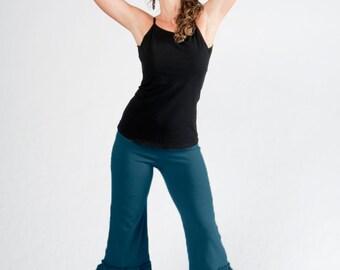 Women's Ruffled Capri-Pants with Ruffles-dance capris-urban pixie fashion-funky hippy pants-festival pants women-teal pants-pixie capri