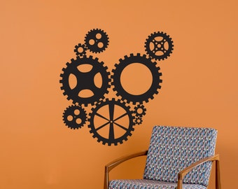 Steampunk Industrial Gears Collection - Wall Decal Custom Vinyl Art Stickers