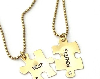 Best Friends Puzzle Necklace, Hand Stamped Jewelry, Handstamped Jewelry, 2 Necklaces, Birthstones