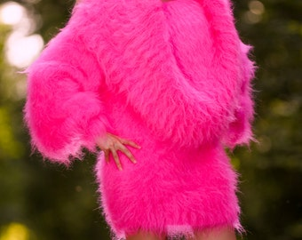 Gorgeous thick and fuzzy hand knitted mohair huge cowlneck sweater dress in neon pink designed by SuperTanya