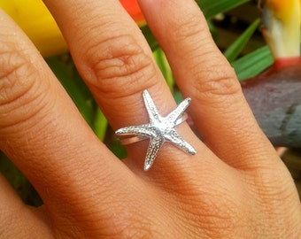Sterling Silver Starfish Ring, hammered ring, silver starfish, nautical ring, under the sea, sea creature, sea life, hawaii jewelry