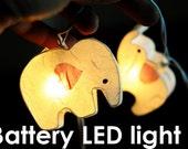 LED Battery string light white elephant kid bedroom decoration decor child children teen bed light night light X mas gift