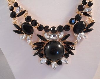 SALE Bib Necklace with Black and Clear Rhinestone Pendants on a Gold Tone Chain