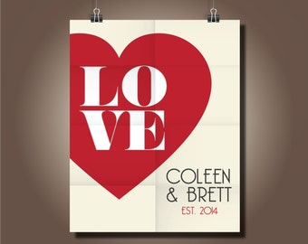 Custom Heart Decor 8x10, Newlywed Wedding Gift, Love, Heart Decor