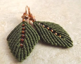 Macrame Earrings - Olive Green Leaf Earrings With Amber Seed Beads