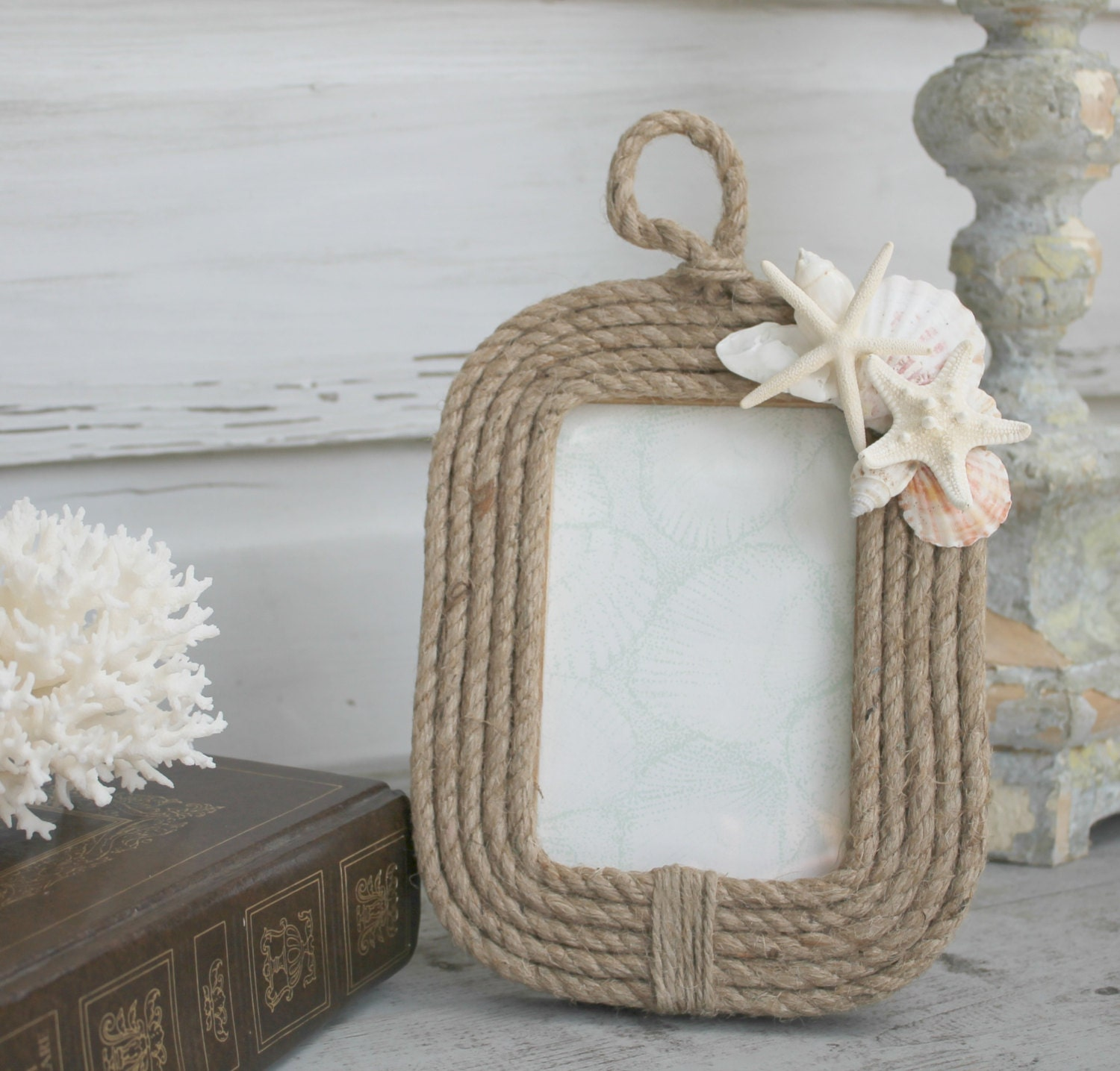 Seashell nautical rope frame coastal photo frame 4x6 picture Rope photo frame