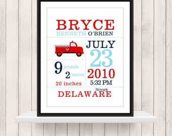 Firetruck  Announcement Print  -Nursery Decor