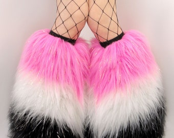 CUSTOM fluffy legwarmers 3 layer fur boots you choose your colors festival leggings rave fluffies