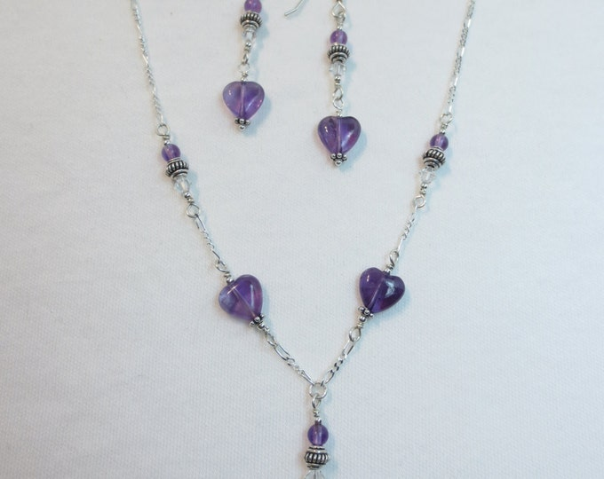 Amethyst Hearts with Swarovski Crystals Necklace & Earrings Set on Sterling Silver