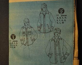 Simplicity 6643 Men's Unlined Shirt- Jacket Uncut Vintage 1970s Sewing Pattern Year 1974 -Neck Sizes 15, 15 1/2., 17-17 1/2