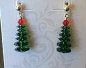 Swarovski Margarita Bead Christmas Tree Earrings in Dark Moss Green & S.S. Posts