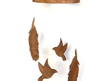 Feather and Bird Wooden Mobile