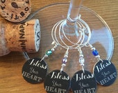 Chalkboard Bless Your Heart - Set of Four Wine Glass Charms