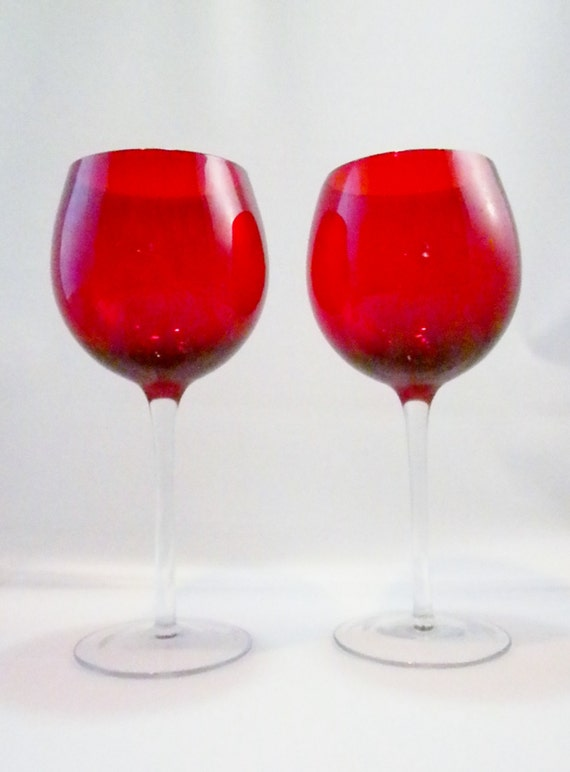 Vintage pair red wine glasses long stem wine glasses by for Thin stem wine glasses