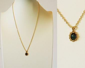 Tiny Vintage Mood Stone Necklace