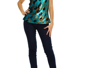 1980s Vintage Dazzling Black Gold Green Blue Simple Sequined Top   Size: XS/S